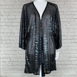 LuLaRoe Lindsay Kimono Black Sheer Size Large